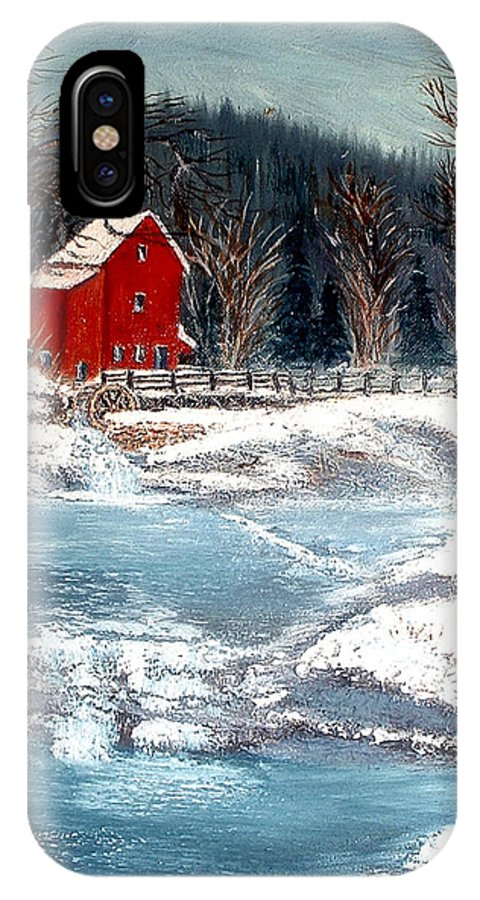 Landscape Mill Old Streem Creek IPhone Case featuring the painting Old Mill by Kenneth LePoidevin
