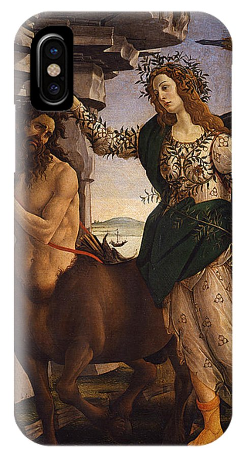 Sandro Botticelli IPhone X Case featuring the painting Pallas And The Centaur by Sandro Botticelli
