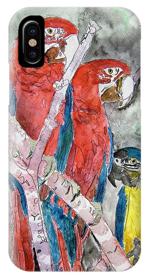 Bird IPhone X / XS Case featuring the painting 3 Parrots by Derek Mccrea
