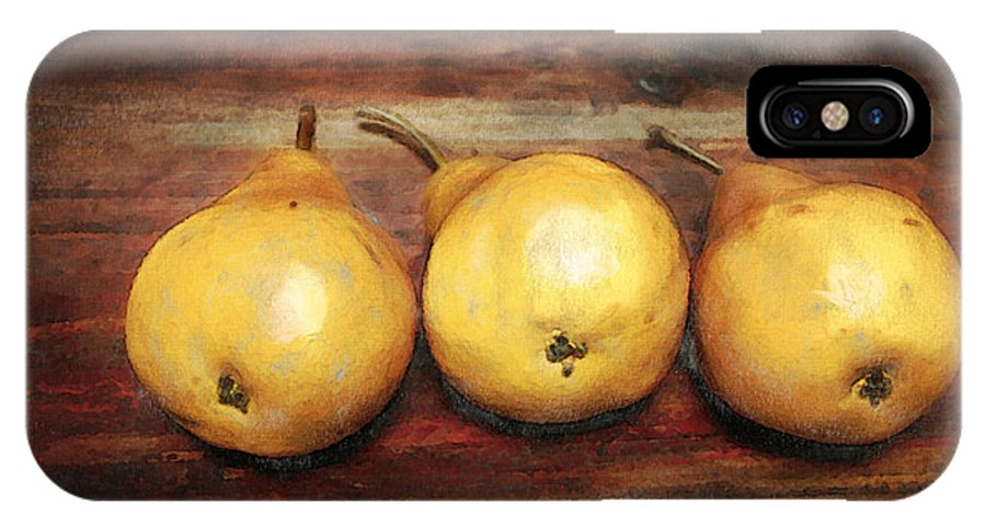 Pear IPhone Case featuring the digital art 3 Pears On A Wooden Table by Julius Reque