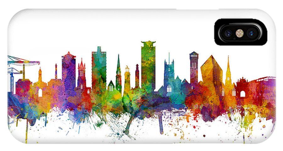 City IPhone X Case featuring the digital art Plymouth England Skyline by Michael Tompsett