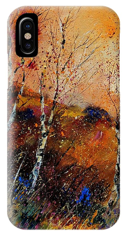 River IPhone X Case featuring the painting 3 Poplars by Pol Ledent