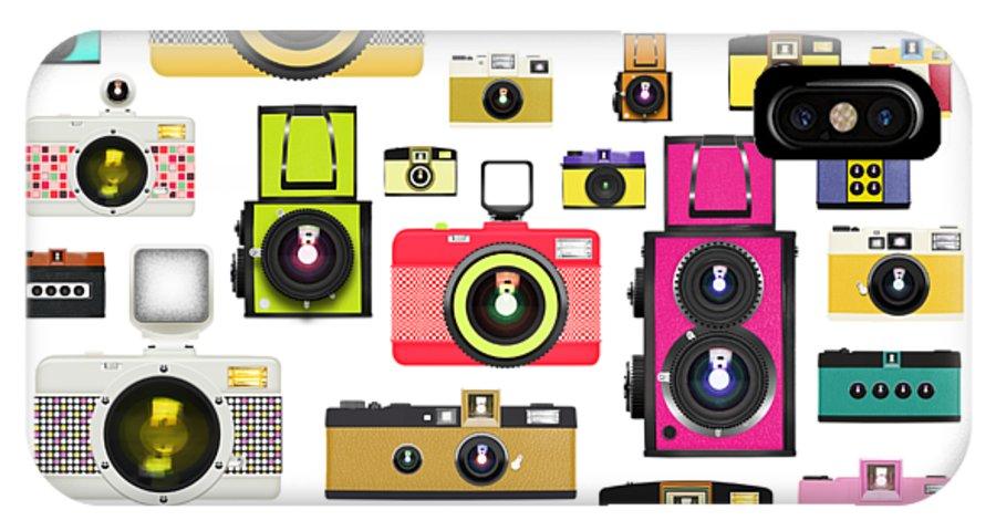 Analog IPhone X Case featuring the painting Retro Camera by Setsiri Silapasuwanchai