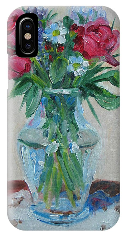 Roses IPhone X Case featuring the painting 3 Roses by Paul Walsh