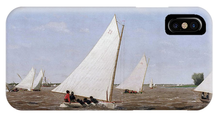 America IPhone X Case featuring the painting Sailboats Racing On The Delaware by Thomas Eakins