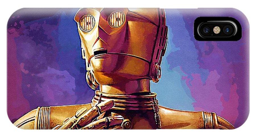 R2d2 Star Wars IPhone X Case featuring the digital art Star Wars Episode 2 Art by Larry Jones