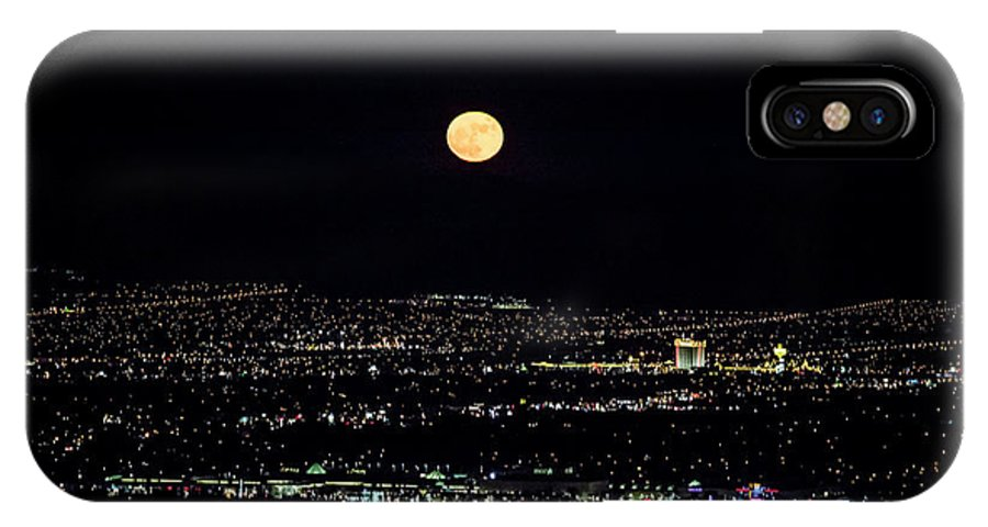 Las Vegas IPhone X Case featuring the photograph Super Moon In Las Vegas by Sv