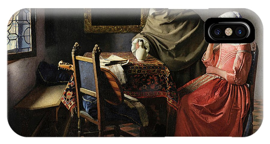 The Glass Of Wine IPhone X Case featuring the painting The Glass Of Wine by Johannes Vermeer