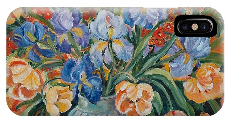 Still Life IPhone X Case featuring the painting Tulips by Alexandra Maria Ethlyn Cheshire