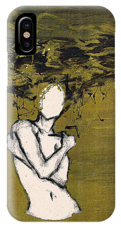 Gold Woman Hair Bath Nude IPhone Case featuring the mixed media Untitled by Veronica Jackson