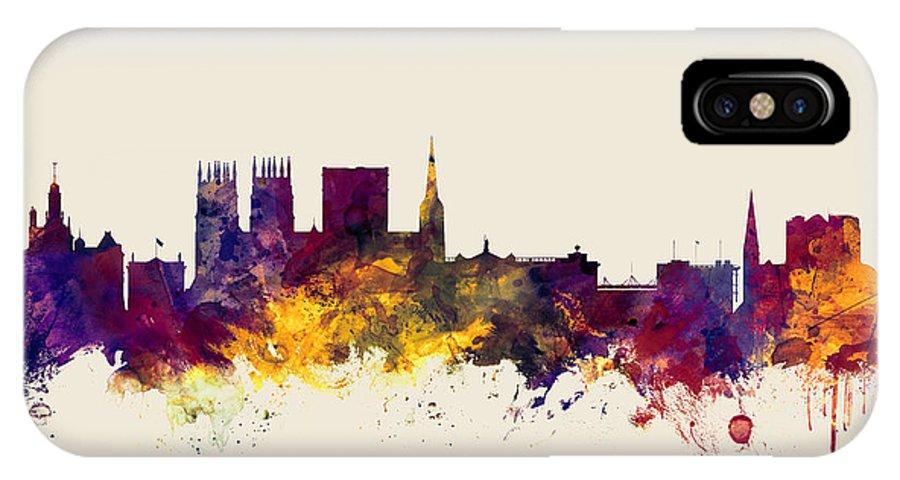 City IPhone X Case featuring the digital art York England Skyline by Michael Tompsett