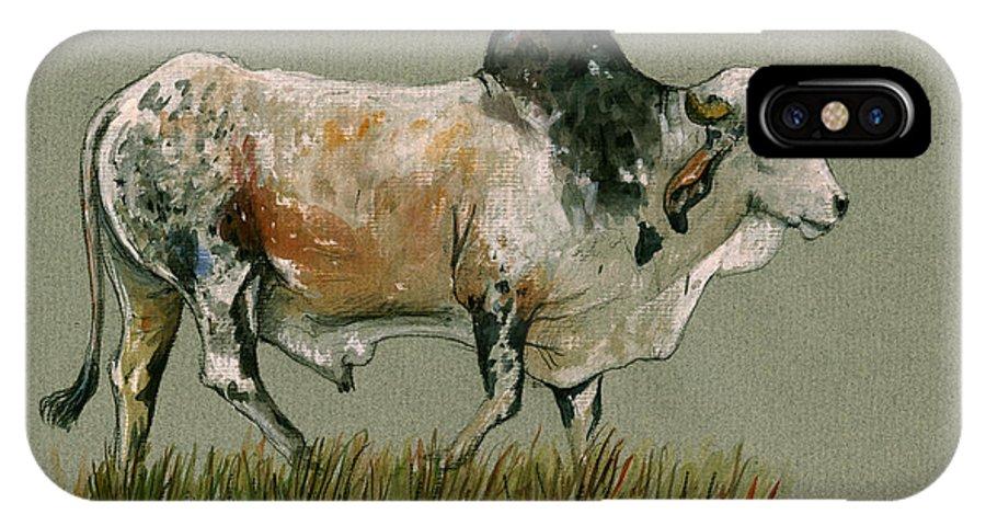 Zebu IPhone X Case featuring the painting Zebu Cattle Art Painting by Juan Bosco