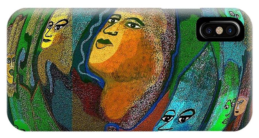 Face IPhone X Case featuring the digital art 301 - The Guru by Irmgard Schoendorf Welch