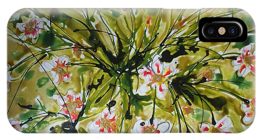 Flowers IPhone X Case featuring the painting Divine Blooms by Baljit Chadha