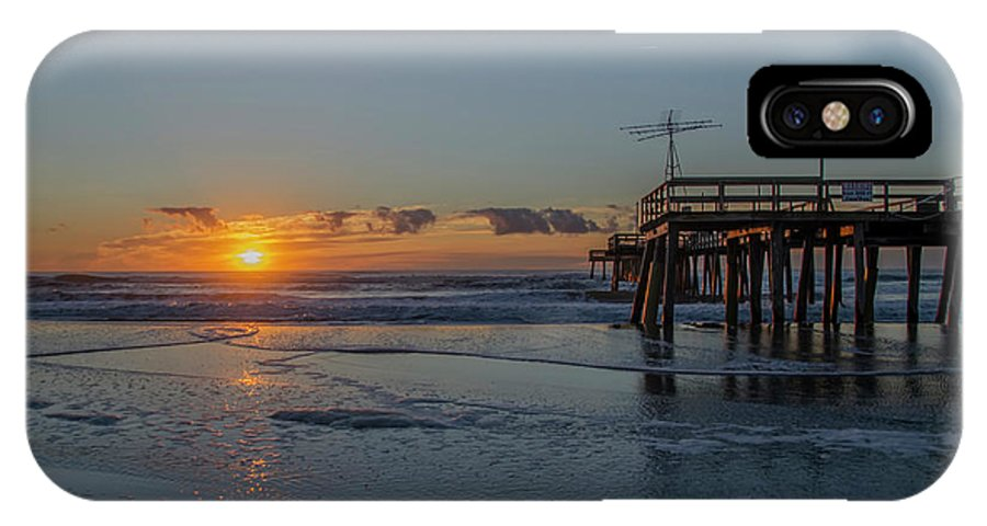 The IPhone X Case featuring the photograph 32nd Street Pier Avalon Nj - Sunrise by Bill Cannon