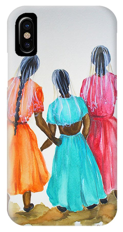 Three Ladies East Indian IPhone X Case featuring the painting 3bff by Karin Dawn Kelshall- Best