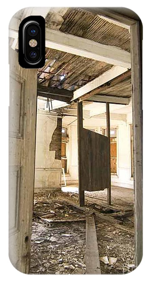 Preston Castle IPhone X Case featuring the photograph 3rd Floor Door And Ruined Room by Norman Andrus