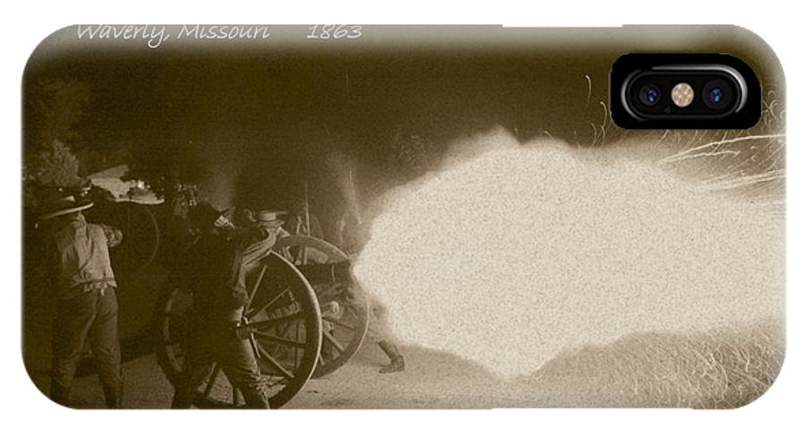 Sepia IPhone X Case featuring the photograph 3rd Missouri Night Fire by David Dunham
