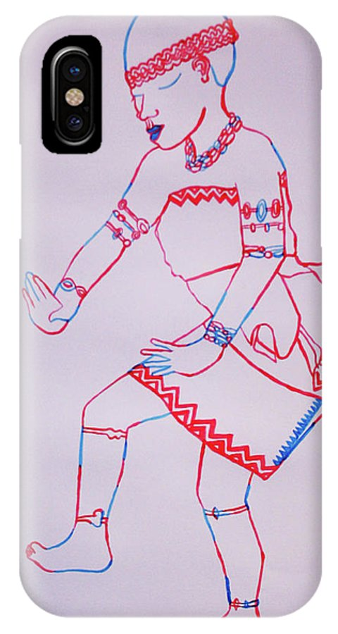 Jesus IPhone X Case featuring the painting Adowa Dance Ghana by Gloria Ssali