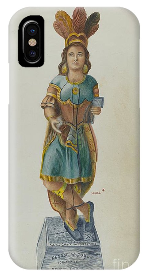 IPhone X Case featuring the drawing Cigar Store Indian by American 20th Century
