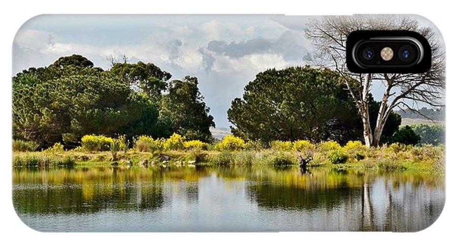 Landscape; Dead; Tree; Little Lake; Water; Sky; Clouds; Blue; Green; Winelands; Stellenbosch; South Africa; Reflection; Plants; Grass; Trees; Rural; Farmland; Werner Lehmann; IPhone X Case featuring the photograph dead Tree by Werner Lehmann