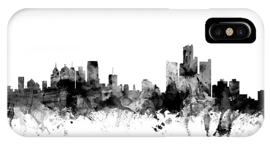 United States IPhone X Case featuring the digital art Detroit Michigan Skyline by Michael Tompsett