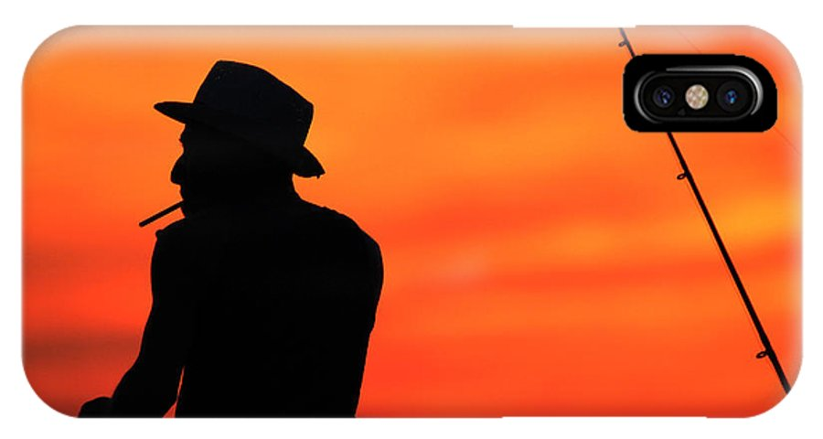 Fisherman IPhone X Case featuring the photograph Fishing Pier Mount Sinai New York by Bob Savage