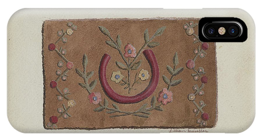 IPhone X Case featuring the drawing Hooked Rug by Lillian M. Mosseller