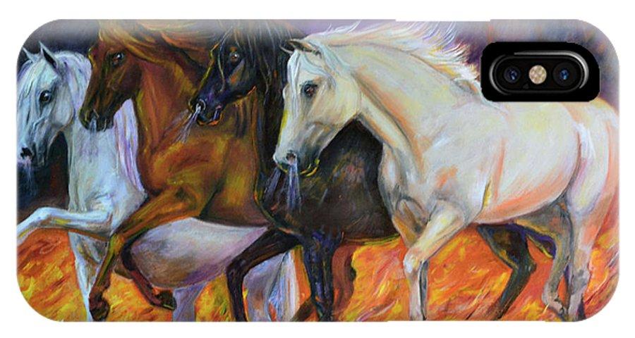 Horse IPhone X Case featuring the painting 4 Horses Of The Apocalypse by Olga Kaczmar