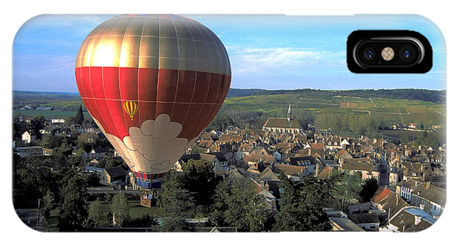 Hot Air Balloon IPhone X Case featuring the photograph Hot Air Balloon Over Burgundy by Carl Purcell