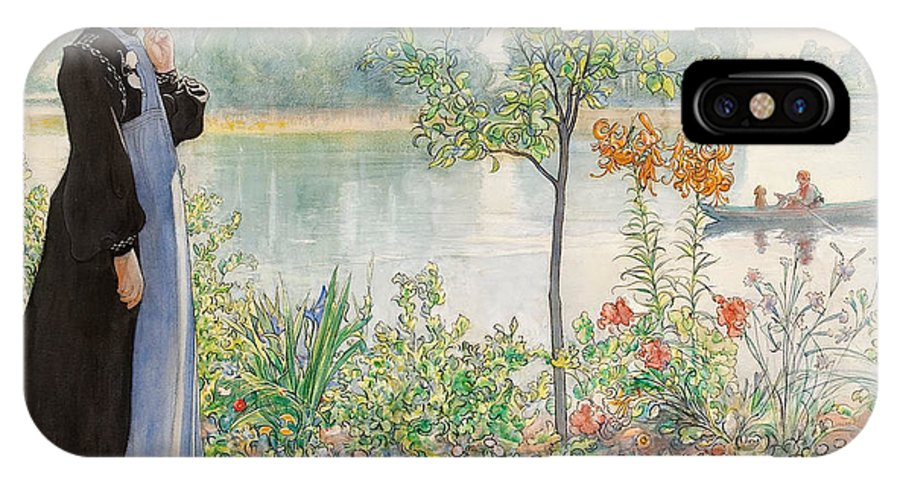 Karin By The Shore By Carl Larsson IPhone X Case featuring the painting Karin By The Shore by Carl Larsson