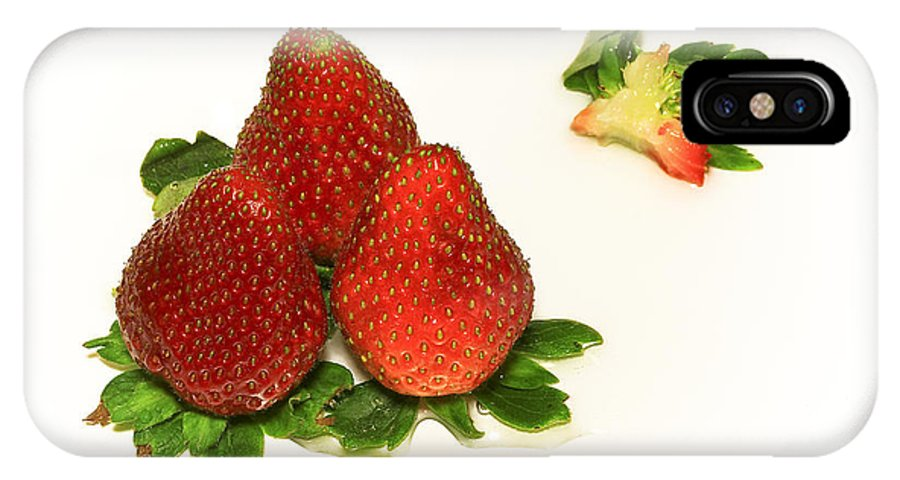 Strawberry IPhone X Case featuring the photograph 4... No... 3 Strawberries by Evelina Kremsdorf
