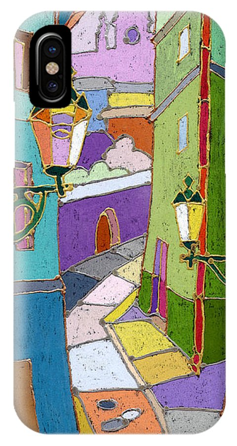 Pastel IPhone X Case featuring the painting Prague Old Street by Yuriy Shevchuk