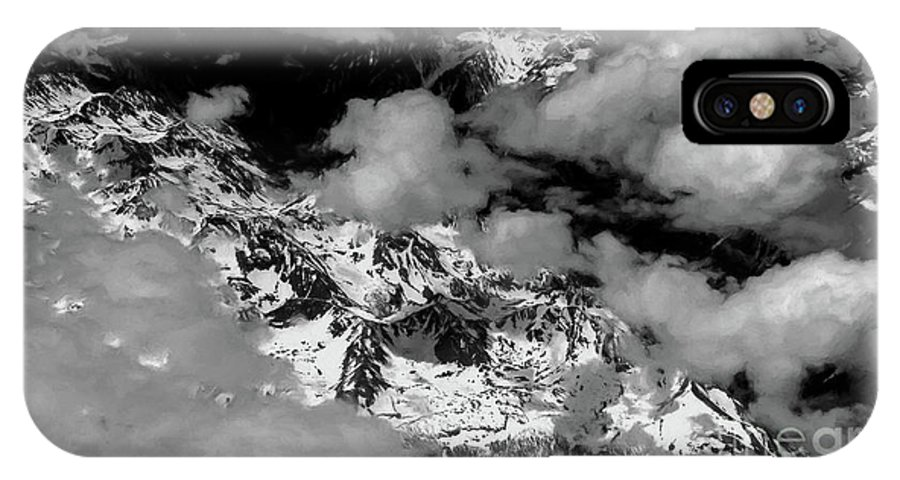 Rocky Mountains IPhone X Case featuring the photograph Rocky Mountains In Colorado With Snow Aerial Black And White by David Oppenheimer