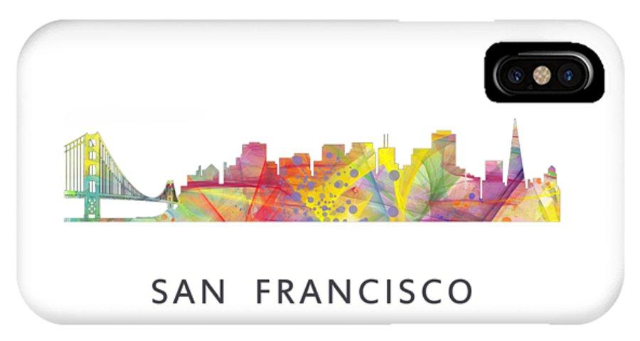 San Francisco California Skyline IPhone X / XS Case featuring the digital art San Francisco California Skyline by Marlene Watson