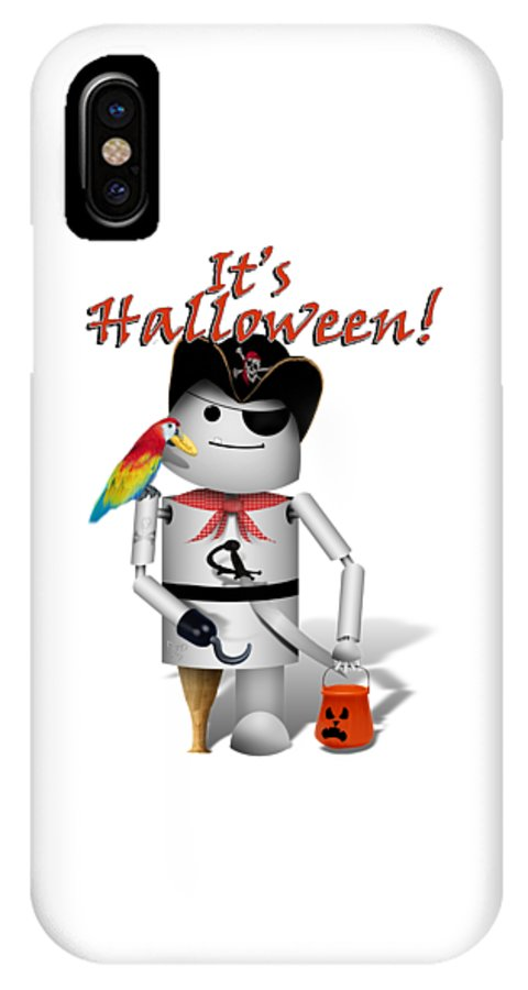 Halloween IPhone X Case featuring the mixed media Trick Or Treat Time For Robo-x9 by Gravityx9 Designs