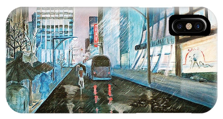Street Scape IPhone X Case featuring the painting 42nd Street Blue by Steve Karol