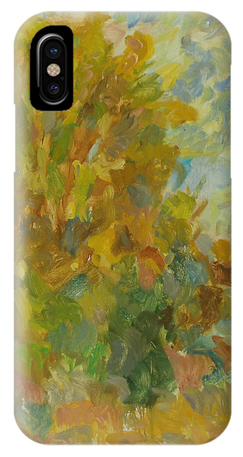 Street IPhone X Case featuring the painting Tree by Robert Nizamov