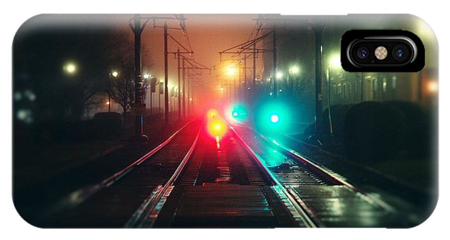 Miscellaneous Rail Track Rail Track And Lights IPhone X Case featuring the digital art 47015 Miscellaneous Rail Track Rail Track And Lights by Mery Moon