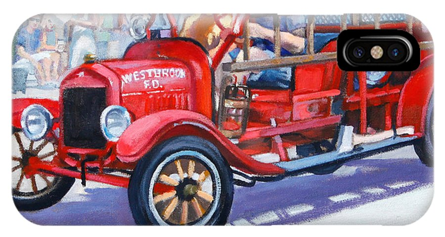 Antique Fire Truck IPhone X Case featuring the painting 4th Of July by Michael McDougall