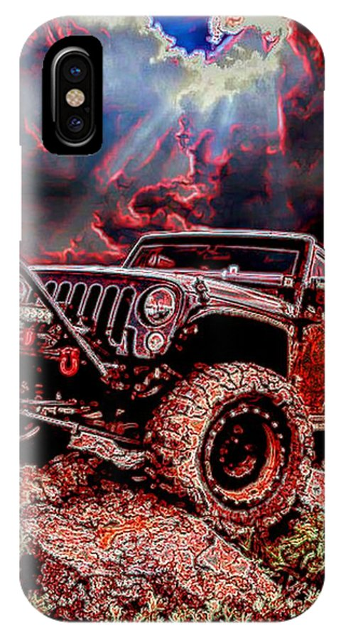 Cj 5 IPhone X Case featuring the digital art 4WD by Michael Todd