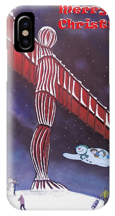 Angel Christmas IPhone X Case featuring the painting Angel Of The North by Neal Crossan