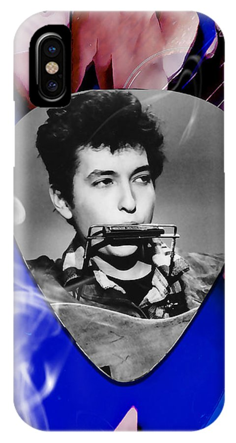 Bob Dylan Art IPhone X Case featuring the mixed media Bob Dylan Art by Marvin Blaine