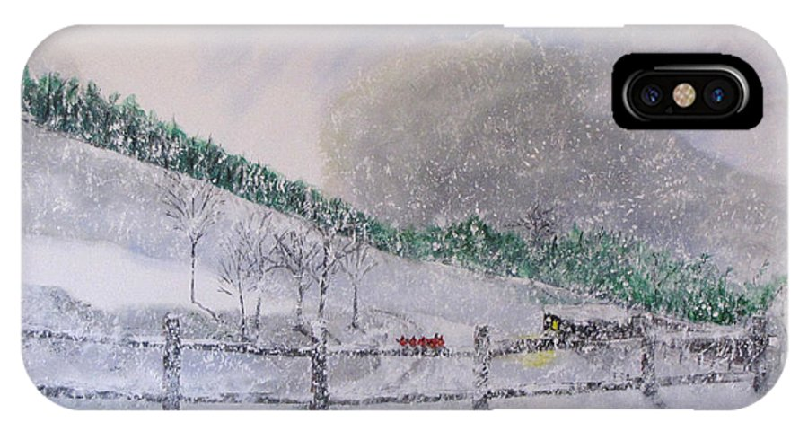 Snow IPhone X Case featuring the painting 5 Card Stud by Gary Smith
