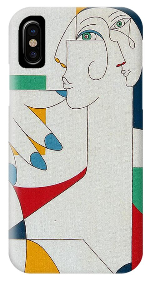 Portrait IPhone X Case featuring the painting 5 Fingers by Hildegarde Handsaeme