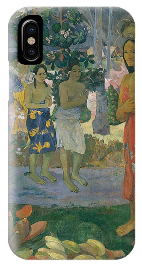 Paul Gauguin Ia Orana Maria Hail Mary IPhone X Case featuring the painting Ia Orana Maria Hail Mary by Paul Gauguin