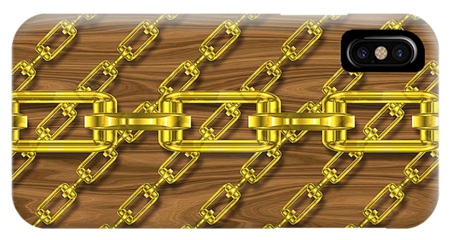 Seamless IPhone X / XS Case featuring the digital art Iron Chains With Wood Seamless Texture by Miroslav Nemecek