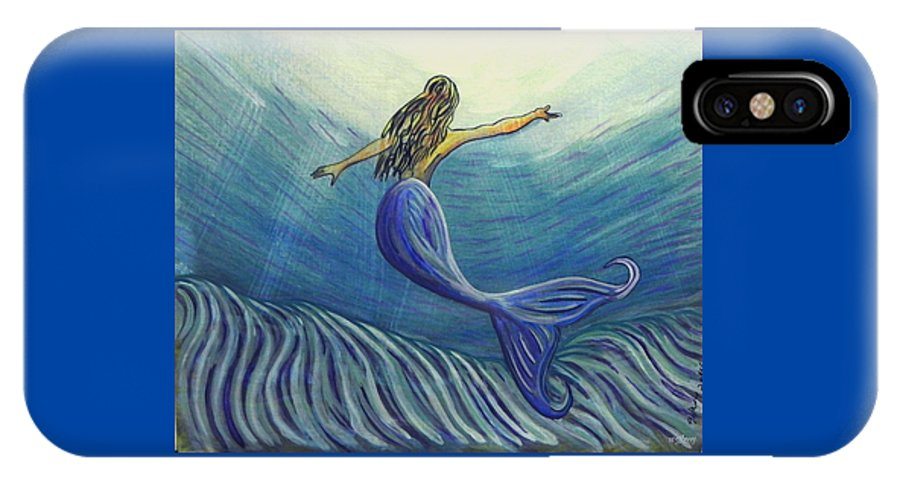 Mermaid IPhone X Case featuring the painting Mermaid by W Gilroy