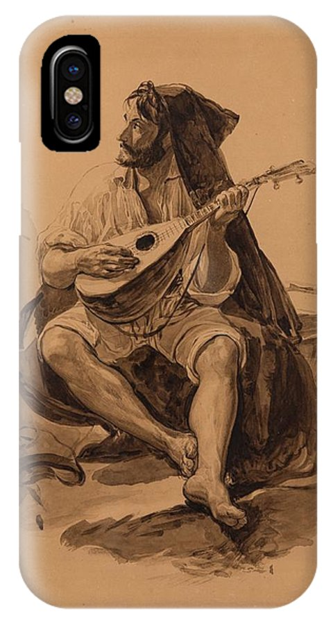 Yegor Ivanovich Makovskiy (russian 1802-1886) Musician IPhone X Case featuring the painting Musician by MotionAge Designs