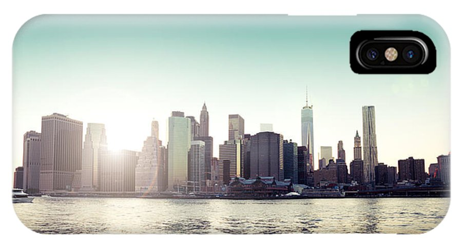 New York IPhone X / XS Case featuring the photograph View Of Lower Manhattan Skyscrapers And Huge Sky by Leonardo Patrizi